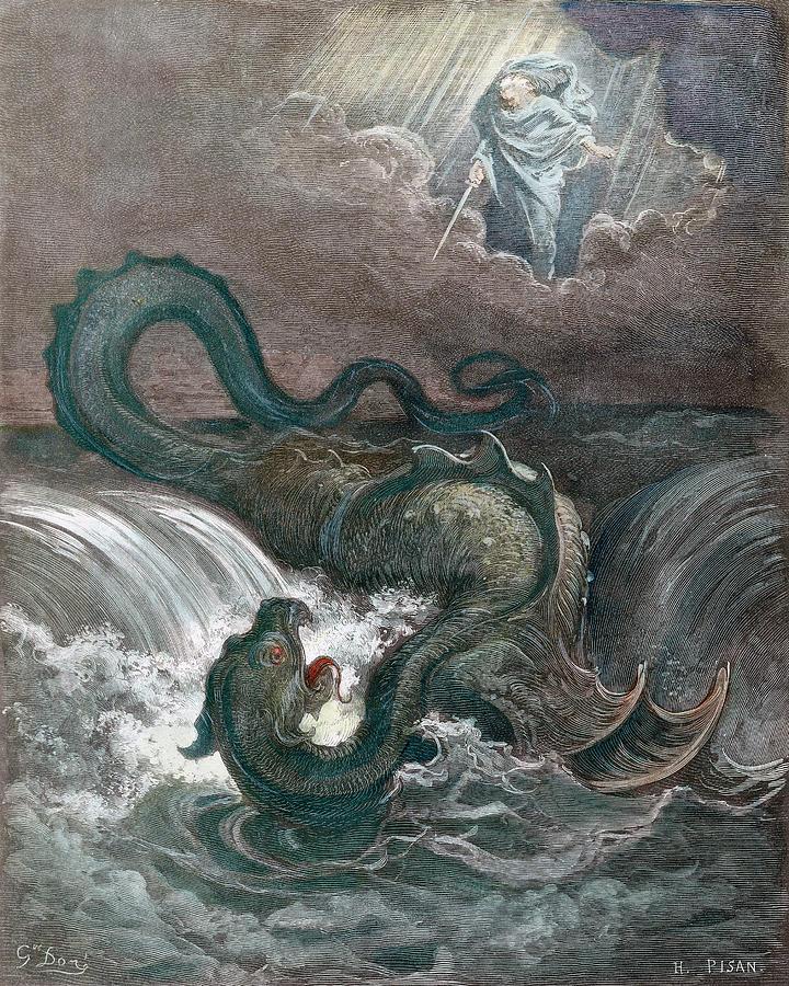 Deus mata o Leviatã. Gustave Doré