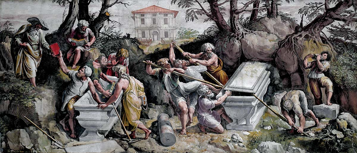 Descoberta da sepultura de Numa Pompílio Polidoro - Caravaggio